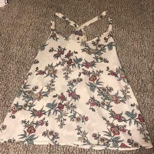 White floral fashion tank top